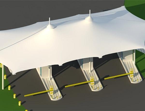 膜结构收费通道雨棚